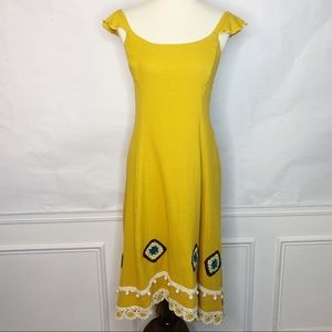 Endless Rose Revolve Yellow Embroidered Dress Sz M
